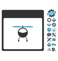 Helicopter Calendar Page Icon With Bonus vector