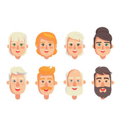 human constructor head different hairstyles vector image
