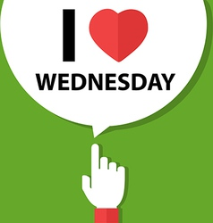 I love wednesday forefinger with bubble vector image