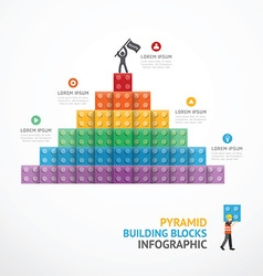 Infographic Template step building Pyramid blocks vector