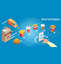 isometric fast food online shopping concept vector image