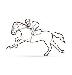 Jockey riding horse cartoon sport graphic vector