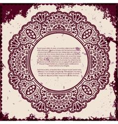Lace frame on grunge background vector image