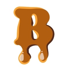 Letter B from caramel icon vector