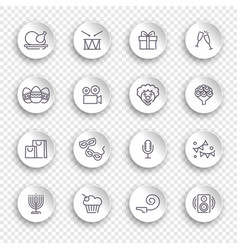 Linear icons event and holidays on white vector