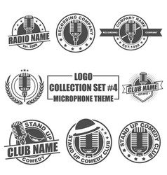 Logo collection set with microphone theme vector