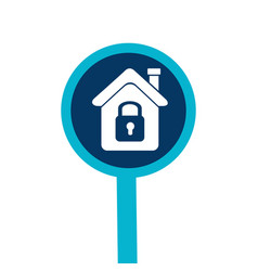loupe with silhouette house with padlock vector image