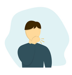man coughs in flat design vector image