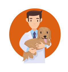 man with cute dog vector image