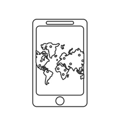 Map inside smartphone of travel concept vector