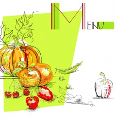 menu with fruit and vegetables vector image