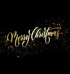 merry christmas greeting card golden firework vector image