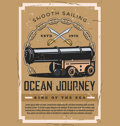 nautical vintage poster ocean marine ship journey vector image