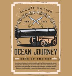 Nautical vintage poster ocean marine ship journey vector