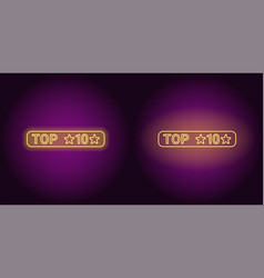 neon banner of top 10 the best vector image
