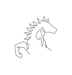 One continuous line drawing luxury horse head vector