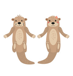 Otters cute cuple animal characters female and vector