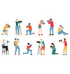 Photographer characters paparazzi cameraman vector