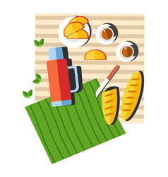 Picnic food and drink on blanket summer outdoor vector