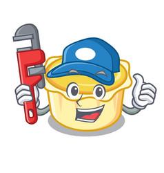 Plumber egg tart mascot cartoon vector