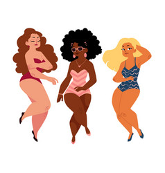 plump curvy women girls plus size models in vector image