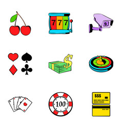 poker icons set cartoon style vector image