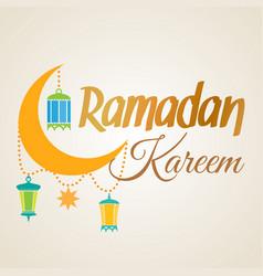ramadan kareem crescent moon and lantern lamps vector image