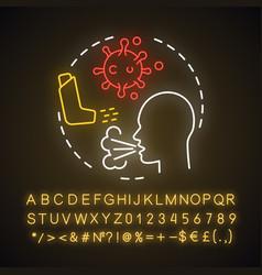 Respiratory allergies neon light concept icon vector