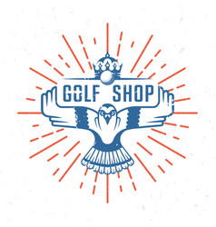 retro of golf badge vector image