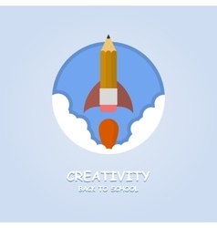 Rocket ship launch made with pencil Creativity vector