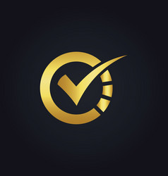 Round check technology gold logo vector