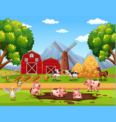 Rural happy farm animals vector
