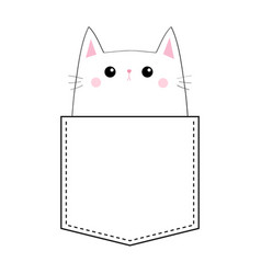sad cat in pocket doodle linear sketch pink vector image
