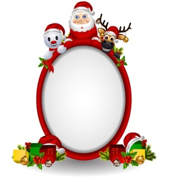 santa claus deer and snowman vector image