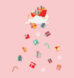 santa sledge with gift boxes falling from cloud vector image