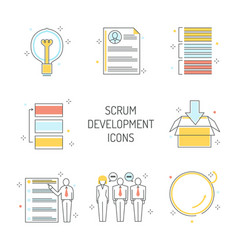 Scrum development icons set - agile methodology to vector