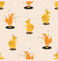 Seamless pattern with cute dancing squirrels and vector
