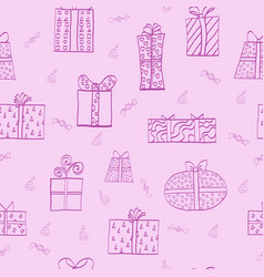 Seamless pattern with present boxes vector