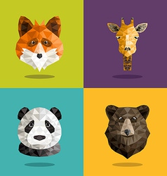 Set of animal origami portrait with flat design vector