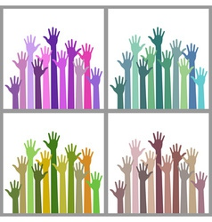 Set of colorful up hands vector