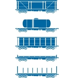 Set of Railway freight cars vector