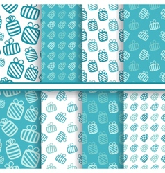 set seamless blue patterns with gifts vector image