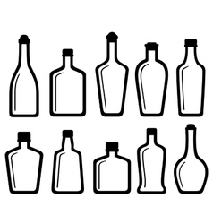 set white glass alcohol bottles vector image