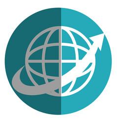 sphere with arrow around isolated icon vector image