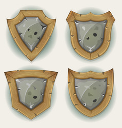 stone and wood shield security icons vector image