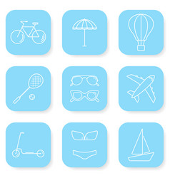 Summer and travel icons set vector