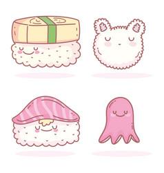 sushi rice octopus asian cartoon food cute vector image