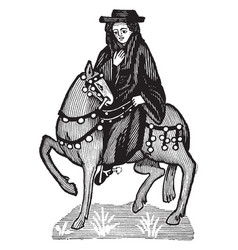The monk from chaucers canterbury tales vintage vector