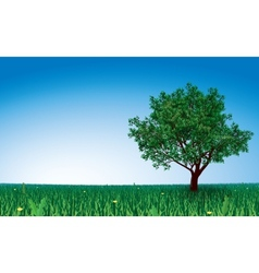 Tree on green field vector