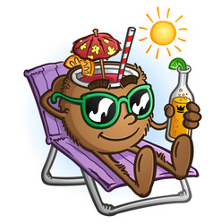 tropical coconut drink cartoon on vacation vector image